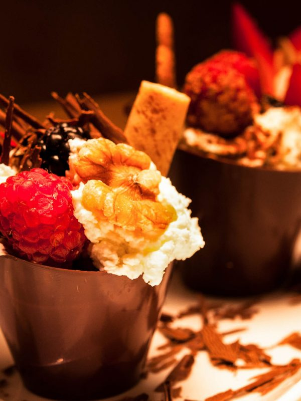 Berries Nuts Chocolate Parfait Dessert Food Photography