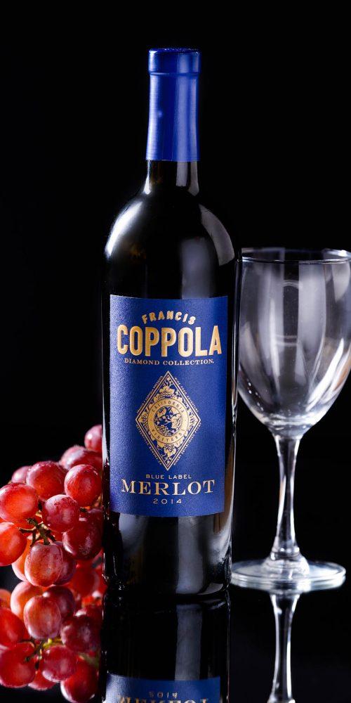 Francis Coppola Merlot Wine Bottle Grapes Product Photography